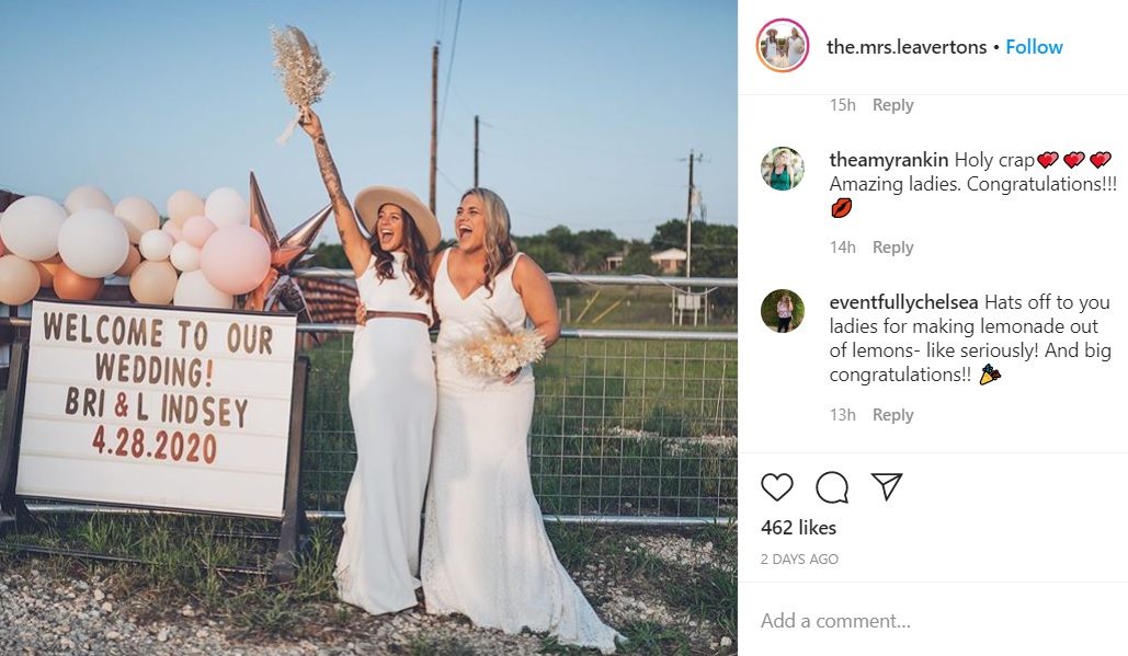 "Bri and Lindsey Leaverton used social media to help guests ""attend"" their pandemic wedding."