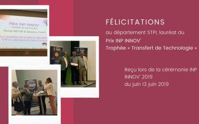 Le département STPI, lauréat du prix « Transfert de Technologies »