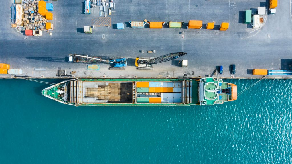 Pier with Container Ship From Above