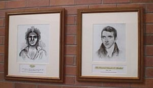 Framed portraits of Biraban and Threlkeld