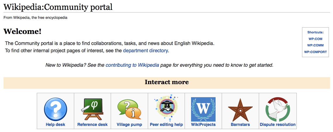 Wikipedia screenshot showing Wikipedia Community Portal.