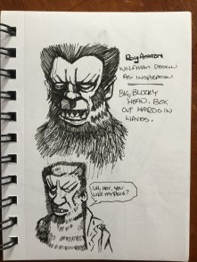 Quick pen sketches of the Roy Ashton Wolfman makeup