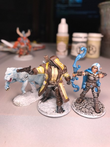 Several shading and highlight passes, the figures are coming together! Oh, and Maren's character has a liger companion. Great Reaper miniature!