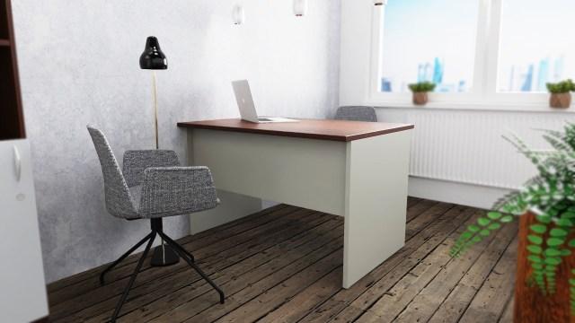 biurko szare z orzechem