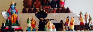 Golu 2013 - Step 3 - Shiva and Nandi, Lord Krisha, Rama, Sita, Lakshmana and Hanuman, Aadisheshan with Naradar, Garuddazhvaar, Vasuki
