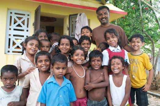 Village kids with Guru,Vidyuth and Vishruth