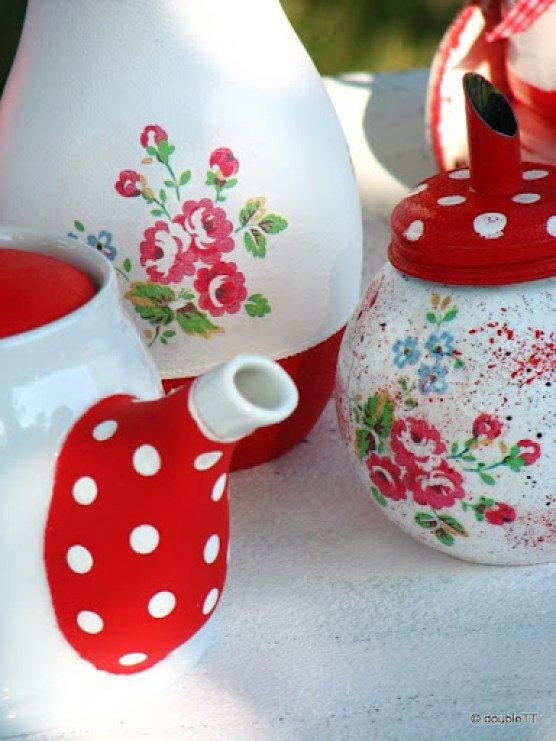 kolekcija polka dots and roses in red - vaza
