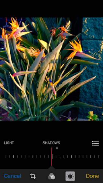 iOS 8 photos app shadows adjustment
