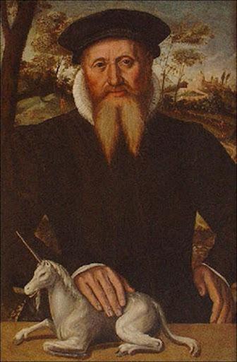 Anonyme, Portrait d'homme avec une licorne