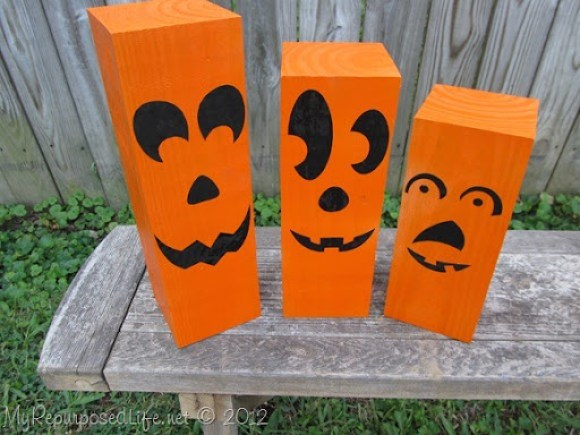4x4 repurposed into jack-o-lantern decorations