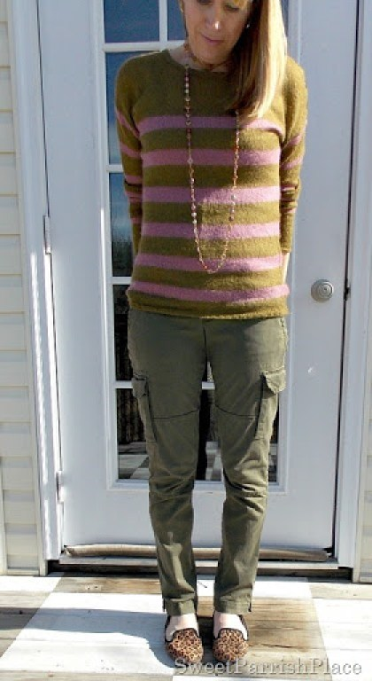 Olive and purple striped sweater with cargo pants and leopard flats