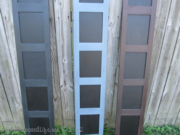repurposed upcycled photo room divider chalkboard