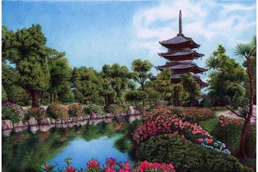 Desenho do jardim do palácio de Kyoto, Japão