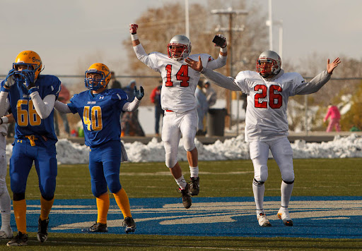 Manti's T.J. Pogroszewski and Carlo Garcia watch Garcia's state record 54-yard game-winning field goal in overtime, giving Manti the 2A State Football Championship