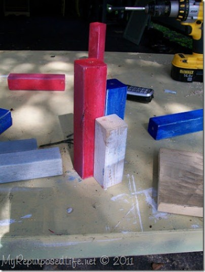 paint scrap wood red white and blue