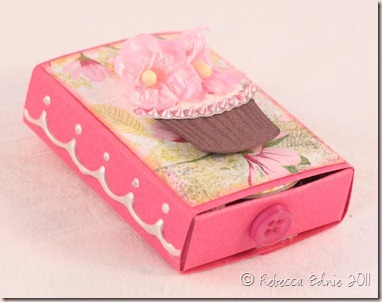 floral cupcake matchbox side