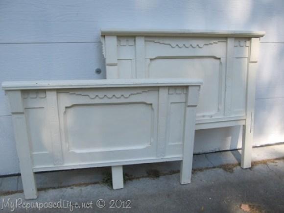 white antique bed set