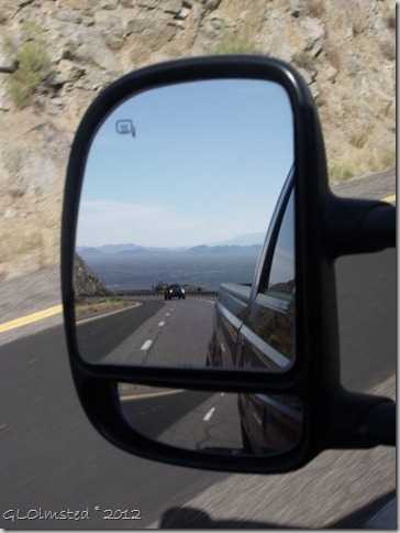 04 Side mirror view of Mike & Max in truck & valley below Yarnell Hill SR89 AZ (768x1024) (768x1024)