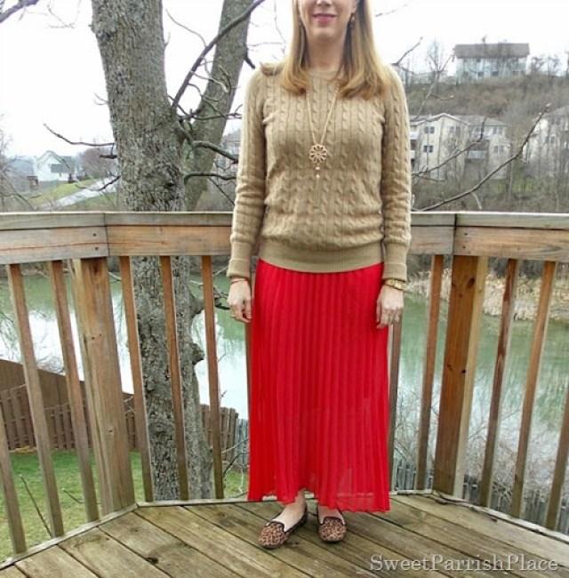 red maxi skirt, tan sweater, leopard flats2
