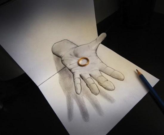 dibujo anamorophic mano