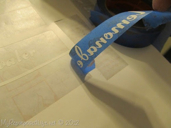 stenciled beverage tags