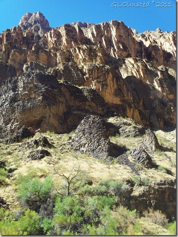 Basalt along the canyon walls Colorado River trip Grand Canyon National Park Arizona