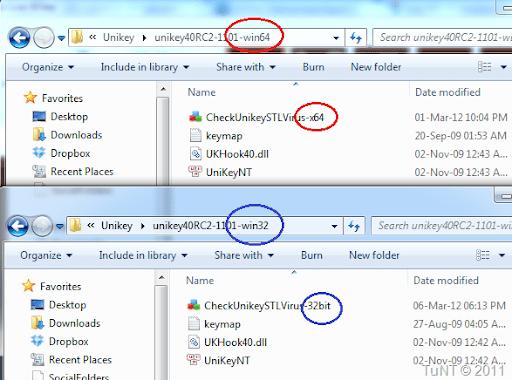 Copy công cụ kiểm tra vào đúng thư mục chứa phiên bản Unikey tương ứng