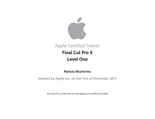 Apple Certified Trainer FCPX