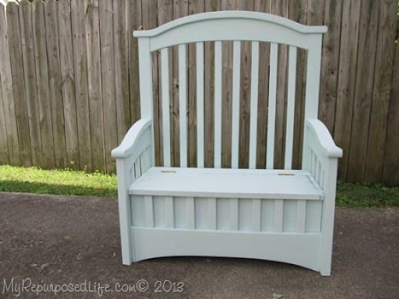 repurposed crib toybox bench