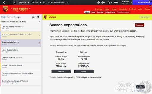 Football Manager 2014 Season Expectations