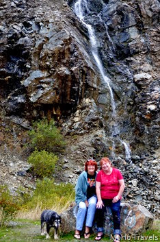 Sue and Maryruth at the waterfall along 199