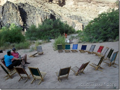 Camp chairs at 120 Mile camp Colorado River trip Grand Canyon National Park Arizona