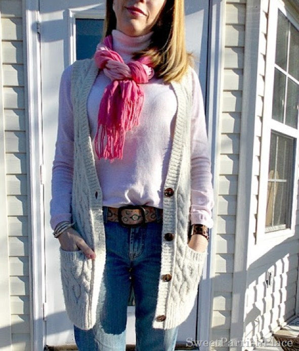 Pink Turtleneck and scarf with sweater vest and jeans2