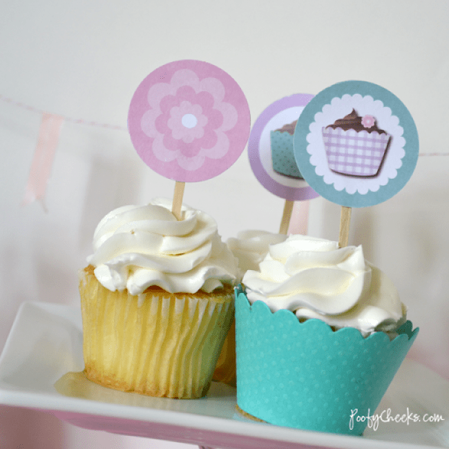 Free Cupcake Party Printables by Poofy Cheeks