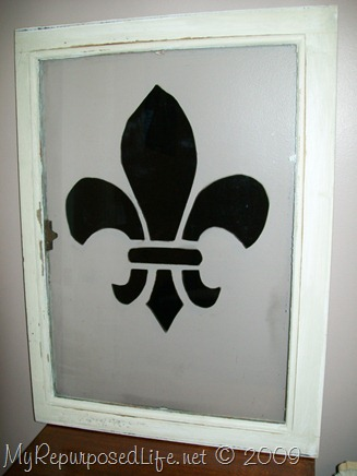 window painted with stencil