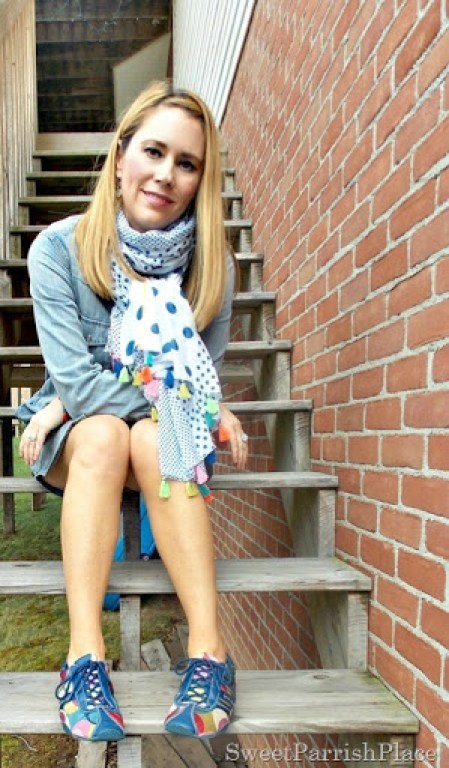 denim shirtdress, tassle scarf, sneakers2