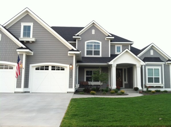 Popular paint colors {exterior} - Dovetail and White Dove by BM