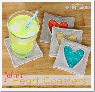 001 Fabric Heart Coasters