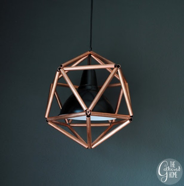 DIY Copper Pipe Icosahedron Pendant Light   www.thegatheredhome.com #tutorial #geometric