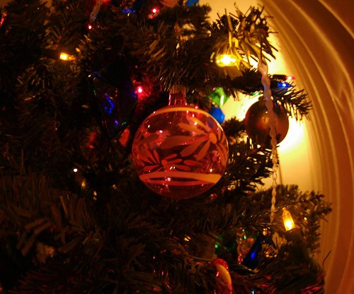 close up christmas ornaments