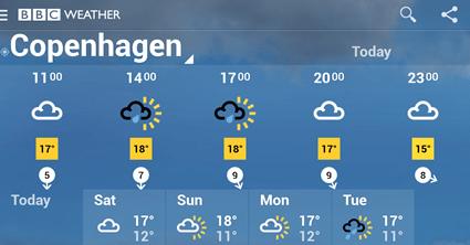 BBC Weather forecast for Copenhagen