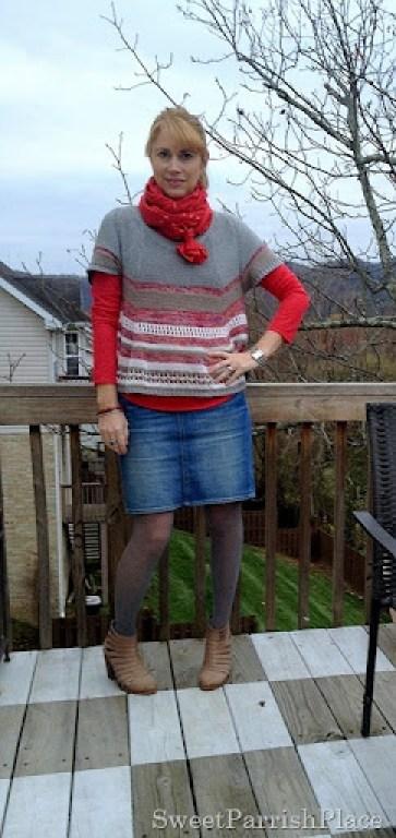denim skirt and booties