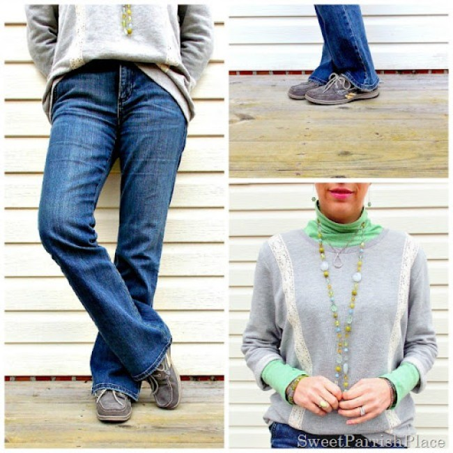 sweatshirt with boot cut jeans and sperrys7