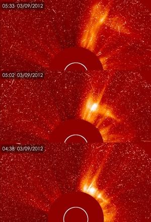 Imagens divulgadas pela Nasa mostram uma nova tempestade solar.