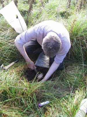 Dr David Jones taking a bulk density core soil sample in Somerset