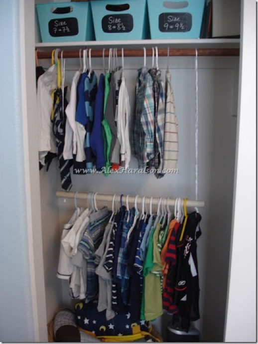 Organize kids' clothes - add a second rod to the closet to instantly double hanging space (and kids can reach it!)