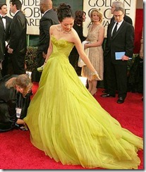 Ziyi Zhang  chartreuse Armani gown--Golden Globes_2006_shedding red carpet