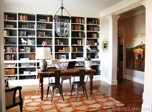 home office with built-in bookcases