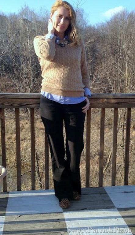 tan sweater black pantsleopardflats