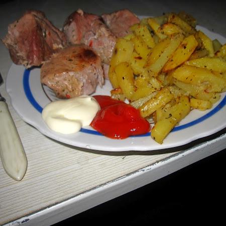 Shashlik and potatoes
